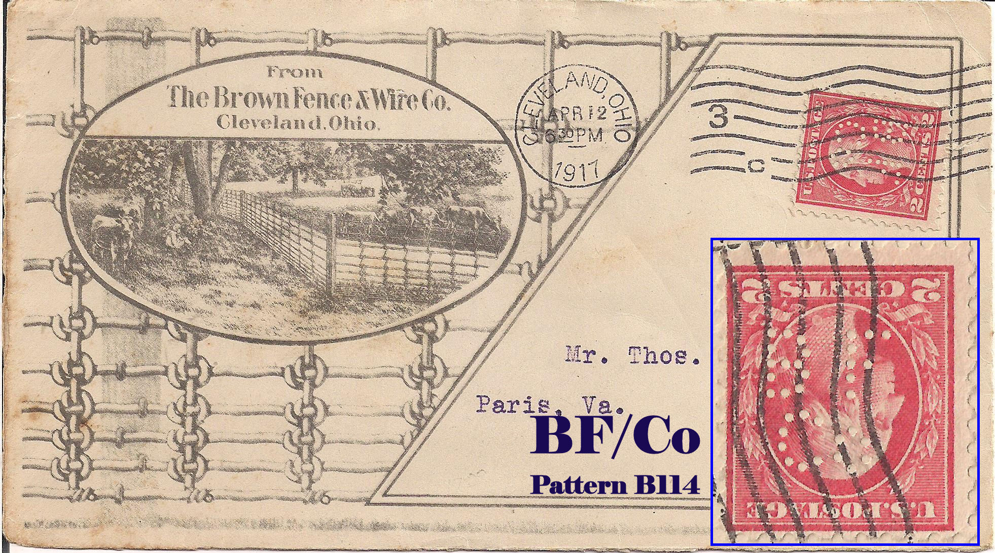 U S Perfin Covers Quot B Quot Patterns