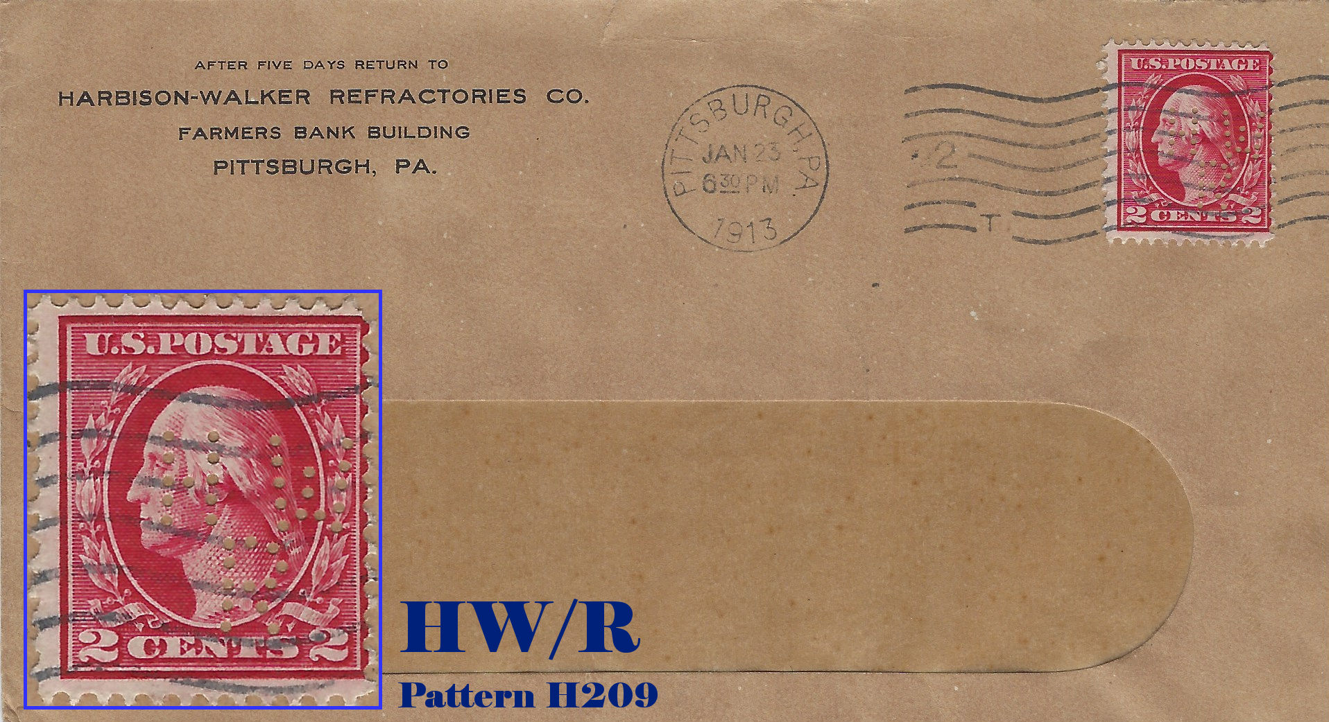 "U.S. Perfin Covers: ""H"" Patterns"