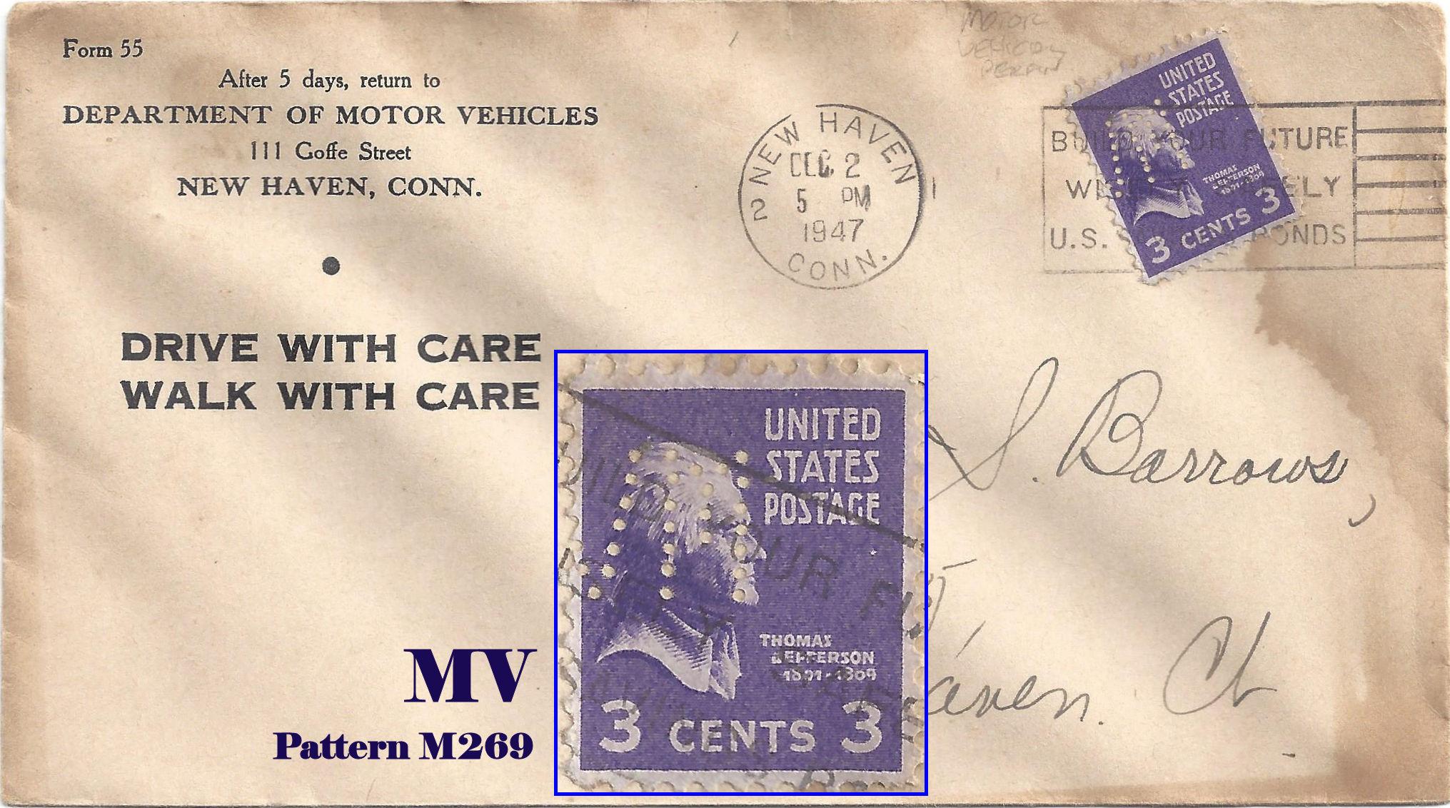 U S Perfin Covers M Patterns