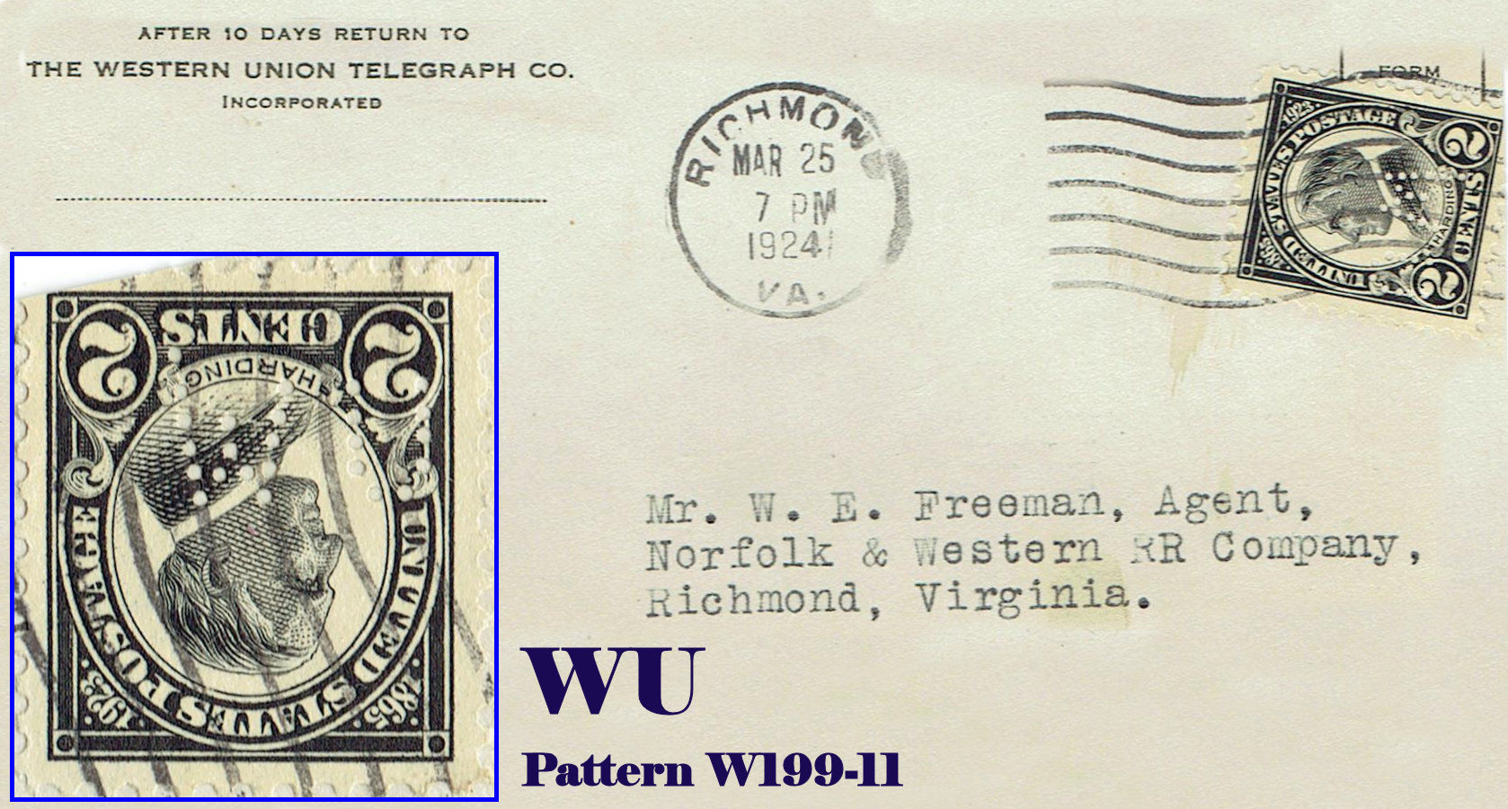 U s perfin covers w patterns for Western union san francisco ca